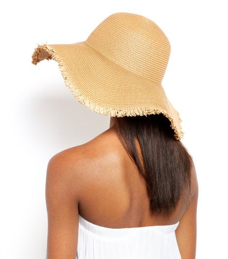 Stone Frayed Straw Floppy Hat | New Look