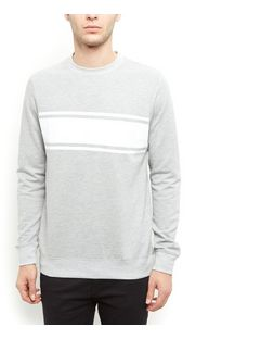 Grey Stripe Colour Block Sweater  | New Look