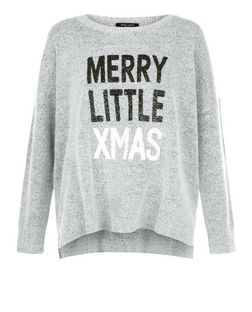 Petite Grey Merry Little Xmas Jumper  | New Look