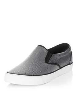 Silver Textured Slip On Plimsolls  | New Look