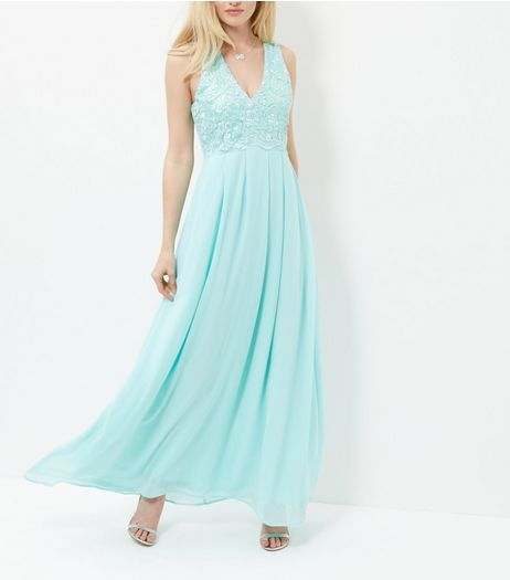 AX Paris Turquoise Lace Panel Maxi Dress | New Look