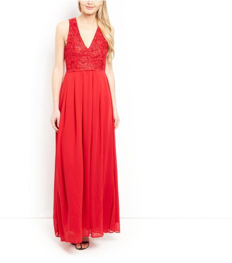 AX Paris Red Lace Panel Maxi Dress  | New Look