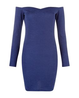 Madam Rage Blue Textured Bardot Neck Bodycon Dress | New Look