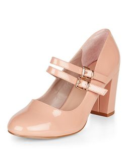 Wide Fit Stone Mary Jane Block Heels | New Look