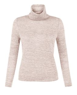 Petite Pink Fine Knit Cowl Neck Long Sleeve Top | New Look