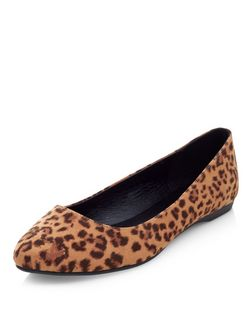 Wide Fit Stone Leopard Print Pointed Pumps  | New Look