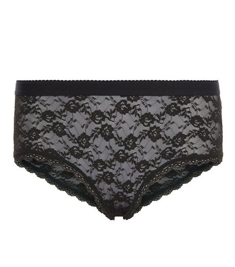 Khaki Floral Lace Short Briefs | New Look