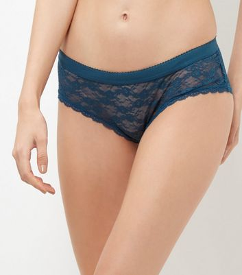 Blue Floral Lace Briefs