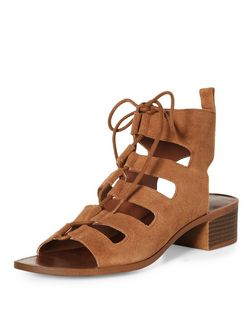 Tan Suede Lace Up Ghillie Heeled Sandals  | New Look