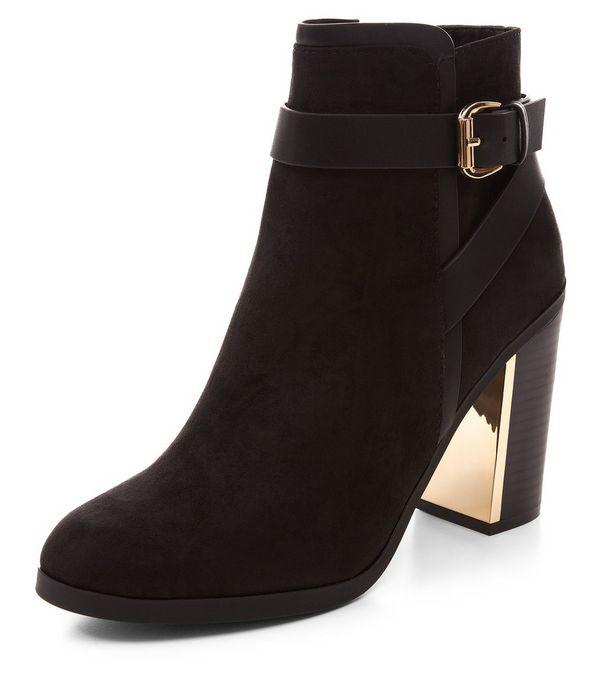 Black Buckle Strap Block Heel Ankle Boots