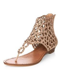 Stone Diamante Cut Out Sandals | New Look