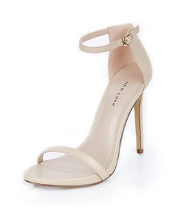 Cream Leather Ankle Strap Heels  | New Look