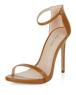 Tan Leather Ankle Strap Heels  | New Look