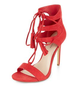 Red Ghillie Heeled Sandals  | New Look