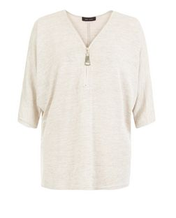Stone Space Dye Fine Knit Zip Front Top | New Look