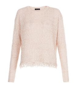 Shell Pink Textured Fringe Hem Jumper  | New Look