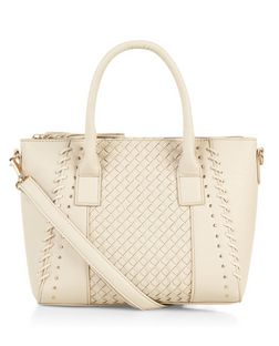 Cream Weave Panel Mini Tote Bag  | New Look