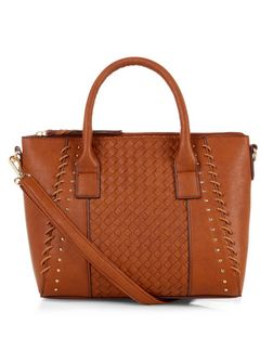 Tan Weave Panel Mini Tote Bag  | New Look