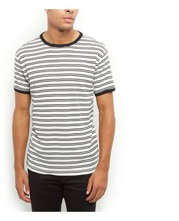 Black Ribbed Stripe T-Shirt  | New Look