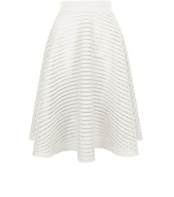 White Mesh Stripe Midi Skirt