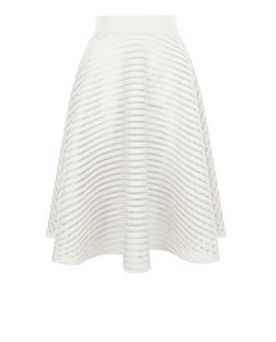 White Mesh Stripe Midi Skirt  | New Look