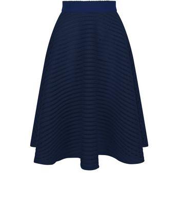 Navy Mesh Stripe Midi Skirt