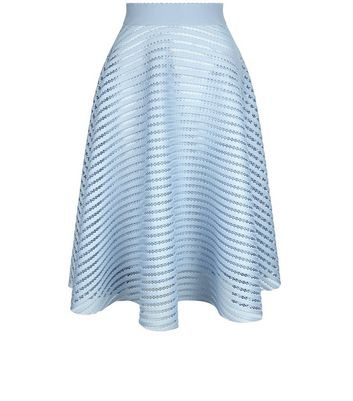 Gonna  donna Pale Blue Mesh Stripe Midi Skirt