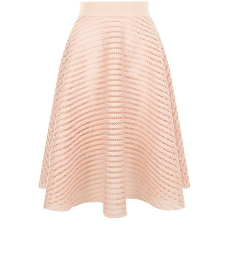 Shell Pink Mesh Stripe Midi Skirt  | New Look