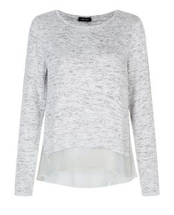 Grey Metallic Fine Knit Chiffon Top  | New Look