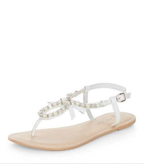 Wide Fit White Leather Pearl Embellished Sandals  | New Look