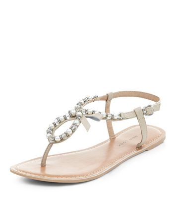 Sandalo  donna Wide Fit Stone Leather Pearl Embellished Sandals