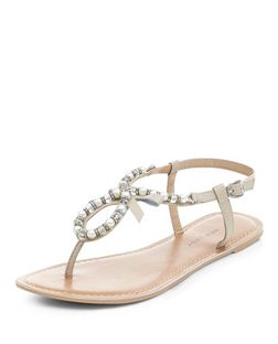 Wide Fit Stone Leather Pearl Embellished Sandals  | New Look