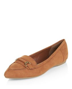 Wide Fit Tan Buckle Trim Loafers  | New Look