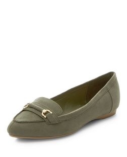 Wide Fit Khaki Metal Trim Pointed Loafers  | New Look