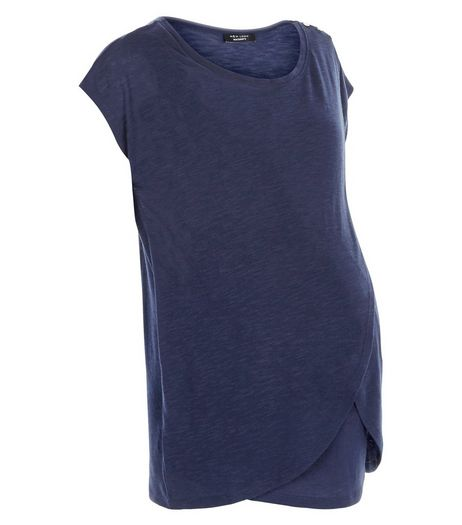 Maternity Navy Wrap Front Nursing T-Shirt | New Look