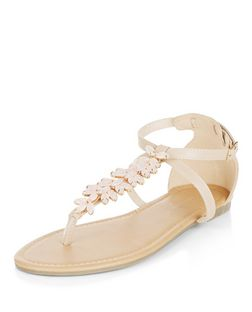Stone Gem Stone Ankle Strap Sandals  | New Look