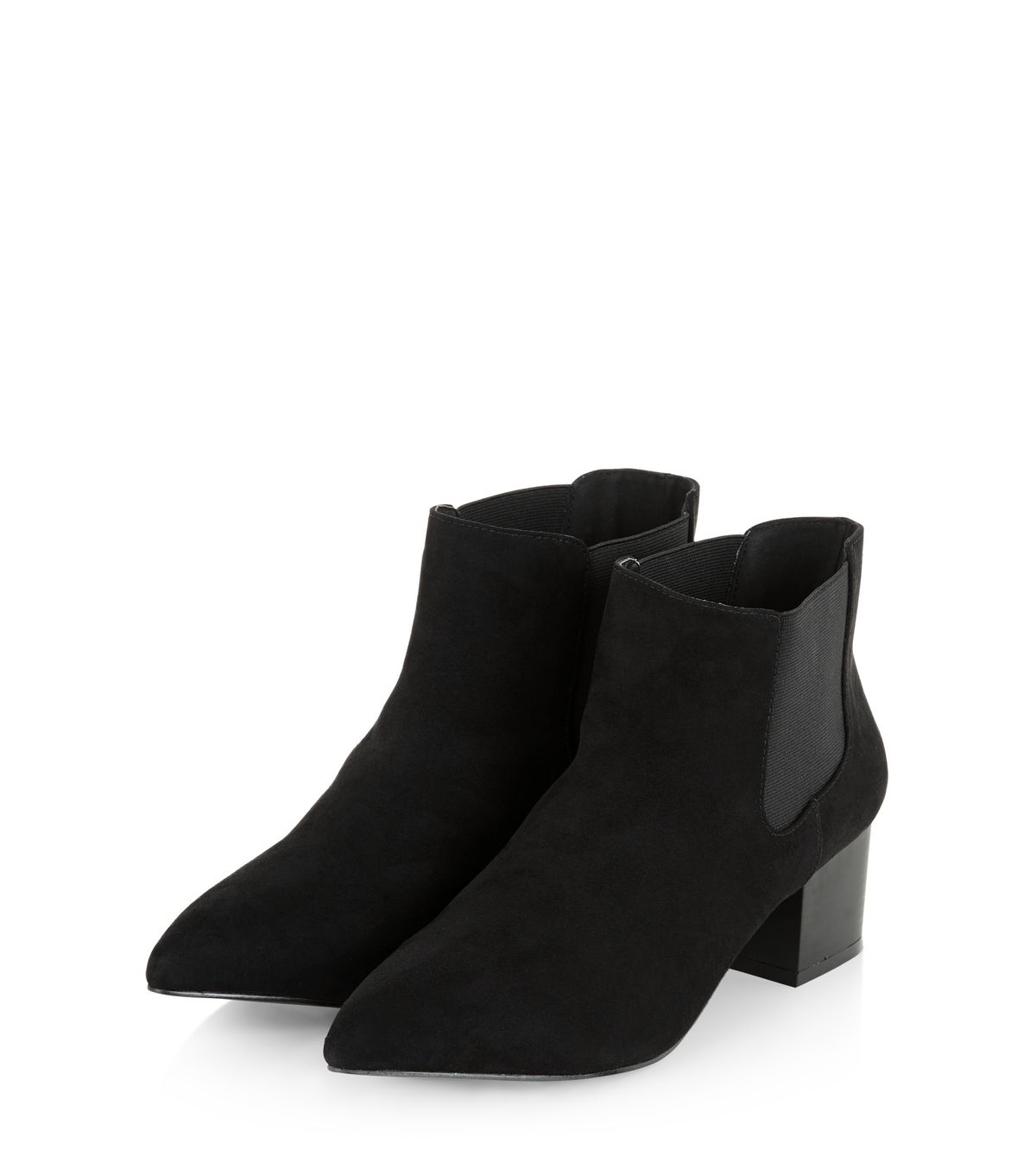 Black Suedette Pointed Ankle Boots  | New Look