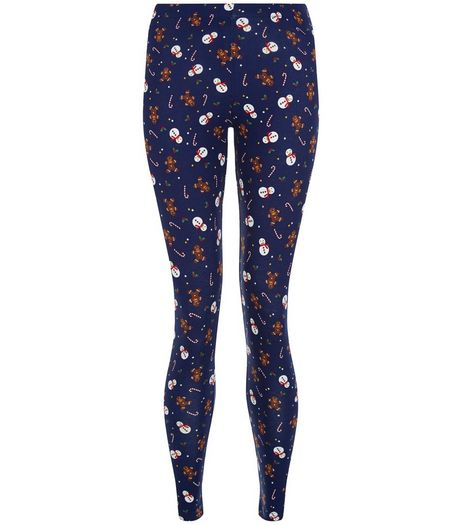 Teens Blue Snowman Gingerbread Man Print Leggings | New Look