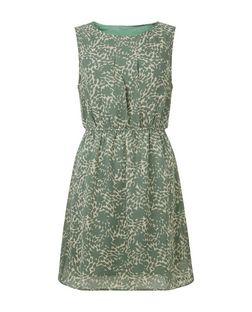 Apricot Green Chiffon Abstract Print Dress | New Look