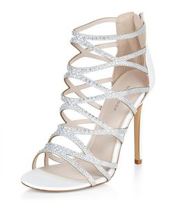 White Embellished Strappy Heels  | New Look