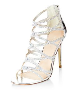 Silver Diamante Cross Strap High Heels | New Look