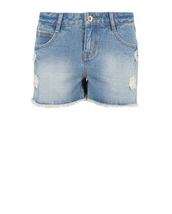 Teens Blue Ripped Denim Shorts | New Look