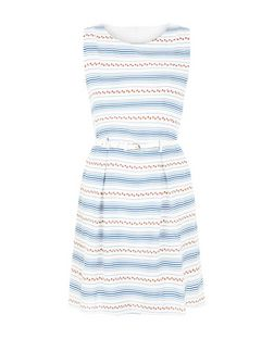 Tenki Blue Floral Stripe Belted Sleeveless Dress  | New Look