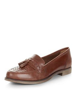 Dark Brown Leather Woven Tassel Front Loafers  | New Look