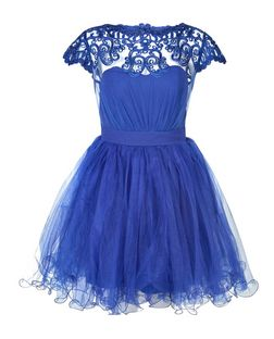 Laced in Love Blue Lace Mesh Panel Prom Dress | New Look
