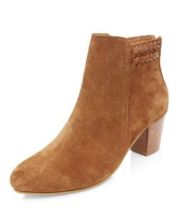Tan Suede Plaited Trim Western Boots  | New Look