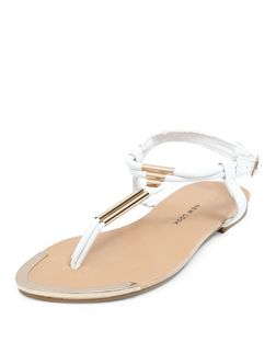 Teens White Metal T Bar Strap Sandals | New Look