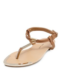 Teens Tan Metal T Bar Strap Sandals | New Look