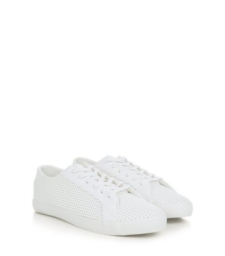 White Perforated Trainers  | New Look