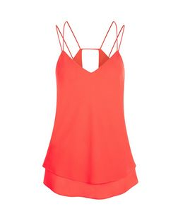 Bright Pink Double Strap Cut Out Back Cami  | New Look